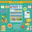 Supermarket flat set — Stock Vector #48729751