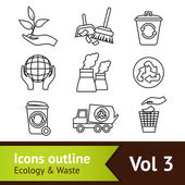 Ecology Icon Set Outline — Stock Vector