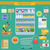 Supermarket flat set — Stock Vector