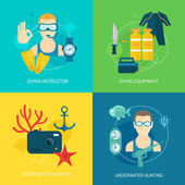 Diving icons composition — Stock Vector