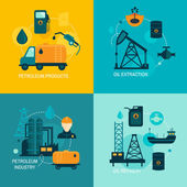 Oil industry flat composition — Vector de stock