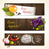 Herbs and spices banners horizontal — ストックベクタ