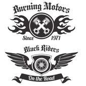 Motorrad Beschriftung schwarz — Stockvektor
