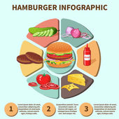 Hamburger sandwich infographic — Vector de stock