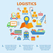 Logistic infographic icons flat — Vecteur