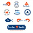 Seafood labels icons set — Stockvector