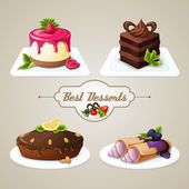 Sweets dessert set — Stock Vector