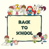 Kids school sketch banner — Stock Vector