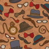 Vintage hats and glasses color seamless pattern — Stok Vektör