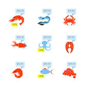 Seafood price icons set — Stock Vector