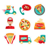 Pizza Fast Delivery Icons Set — Stock Vector