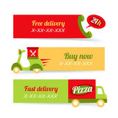 Pizza fast delivery banners — Stock Vector