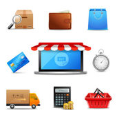 Realistic online shopping icons — Vector de stock