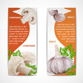Garlic champignon banners — Stock Vector