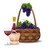 Wine grape and wine basket — Stock Vector