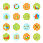 Business chart icons flat — Stock Vector