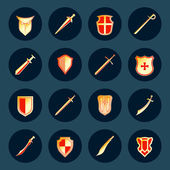 Sword and shield icons set — Stock Vector