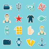 Diving Icons Set — Stok Vektör