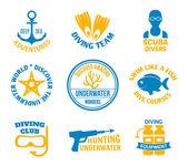 Diving seals set — Stock Vector