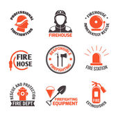 Firefighting label set — Stock Vector