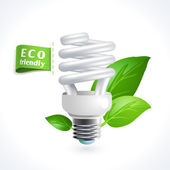 Ecology symbol lightbulb — Stock Vector