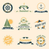 Summer sea retro labels — Stock Vector