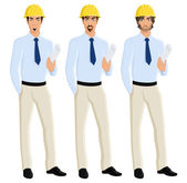 Man engineer portrait set — Stock Vector