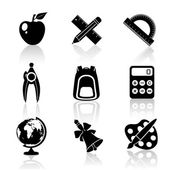 Black School Icons Set — Stock Vector
