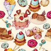 Sweets sketch colored seamless pattern — Cтоковый вектор