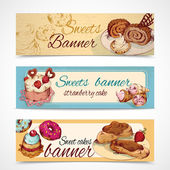 Sweets colored banners — Stock Vector