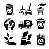 Ecology icon set black and white — Stock Vector