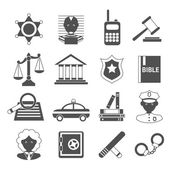Law icons white and black — Vector de stock