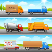 Realistic truck icons on road — Vector de stock