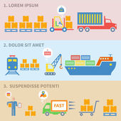 Logistic icons flat — Vector de stock