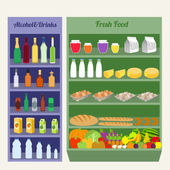 Supermarket shelves flat — Stock Vector