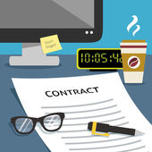 Contract on office desk — Stock Vector