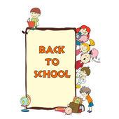 Kids school sketch poster — Stock Vector