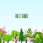 Fotest border trees sketch — Stock Vector
