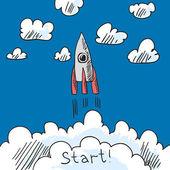 Boceto de cartel de cohete — Vector de stock