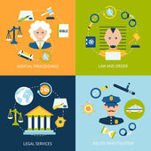 Law flat icons set — Stock Vector