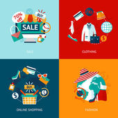 Shopping clothing flat icons set — Vector de stock