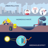 Pollution icons flat set — Stock Vector