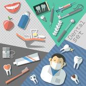 Diş çıkartma seti — Stok Vektör