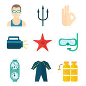 Diving icons flat — Stock Vector