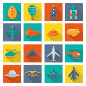 Aircraft icons set — Stok Vektör