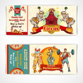 Circus vintage tickets set — Vector de stock