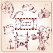 Cinema sketch set — Stock Vector