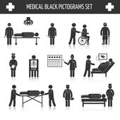 Medical black pictograms set — Stock Vector