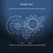 Gears technical drawing — Stock Vector
