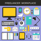 Freelancer workplace icons set — Vettoriale Stock